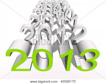 High resolution concept or conceptual 3D green 2013 year isolated on white background as metaphor to holiday,symbol,Christmas,calendar,happy,eve,December,January,time,season,new year winter graphic