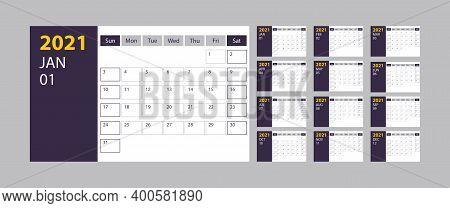 Calendar 2021 Week Start Sunday Corporate Design Planner Template On Grey Background, Stock Vector