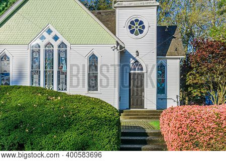 Richmond, Canada - May 05, 2020: Church Historic Richmond Chapel In Minoru Park