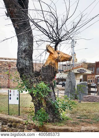 Liano,texas - Nov.11,2020  Carved Deer Head In Old Tree In Downtown Liano City Park By Artist Joaqui