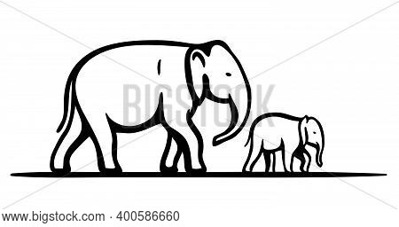 Silhouette Of An Elephant And Baby Elephant. Simple Vector Illustration Isolated On White Background