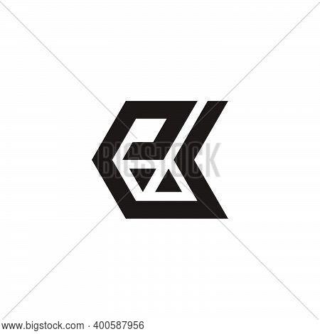 Abstract Letter Ek Simple Geometric Triangle Mosaic Arrows Logo Vector