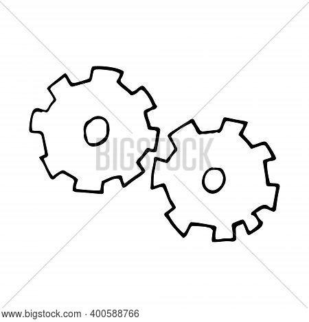 Gears Icon, Sticker. Sketch Hand Drawn Doodle Style. Vector Minimalism Monochrome. Mechanism, Machin