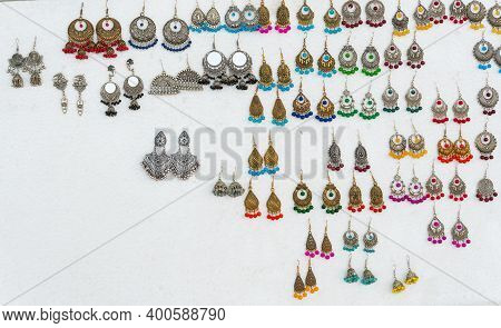 Various Shapes And Shades Of Earrings , Handicrafts On Display During The Handicraft Fair In Kolkata
