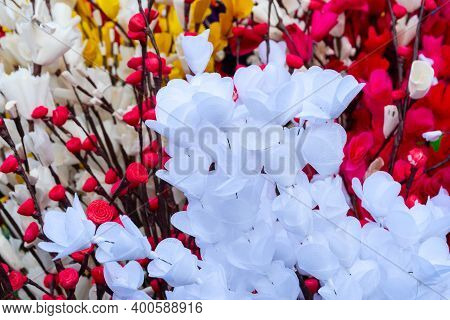 Colorful Artificial Flowers Made Out Of Colored Sola, Spongewood, Handicrafts On Display During The