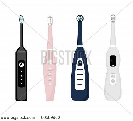 Set Of Electric Toothbrush Icons Isolated On White Background. Element For Cleaning Teeth. Dentistry