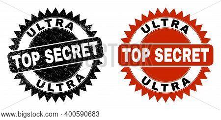 Black Rosette Ultra Top Secret Watermark. Flat Vector Distress Stamp With Ultra Top Secret Text Insi