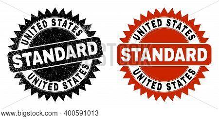 Black Rosette United States Standard Seal. Flat Vector Grunge Seal With United States Standard Capti