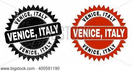 Black Rosette Venice, Italy Seal Stamp. Flat Vector Grunge Seal Stamp With Venice, Italy Message Ins