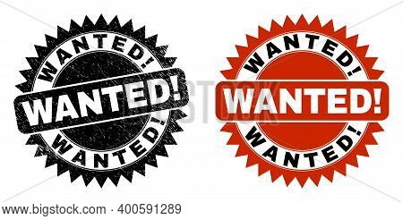 Black Rosette Wanted Exciting Seal Stamp. Flat Vector Textured Stamp With Wanted Exciting Title Insi