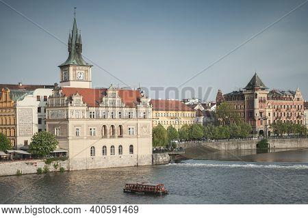 Prague, Czech Republic - May 1, 2017: Old Prague View At Summer Day. Vltava River, Smetana Museum In