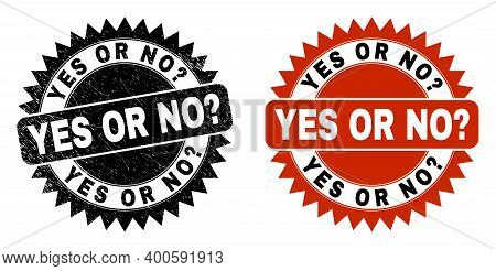 Black Rosette Yes Or No Query Seal. Flat Vector Grunge Seal Stamp With Yes Or No Query Caption Insid