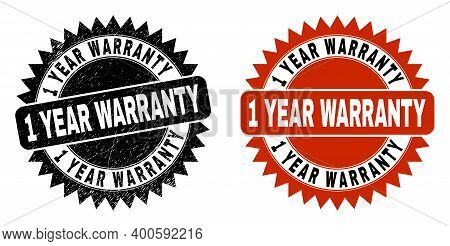 Black Rosette 1 Year Warranty Watermark. Flat Vector Scratched Watermark With 1 Year Warranty Phrase