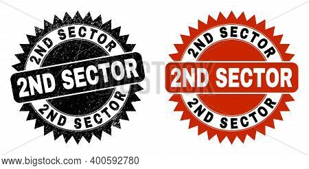 Black Rosette 2nd Sector Seal. Flat Vector Distress Seal Stamp With 2nd Sector Caption Inside Sharp
