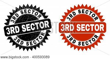 Black Rosette 3rd Sector Seal Stamp. Flat Vector Distress Seal Stamp With 3rd Sector Caption Inside