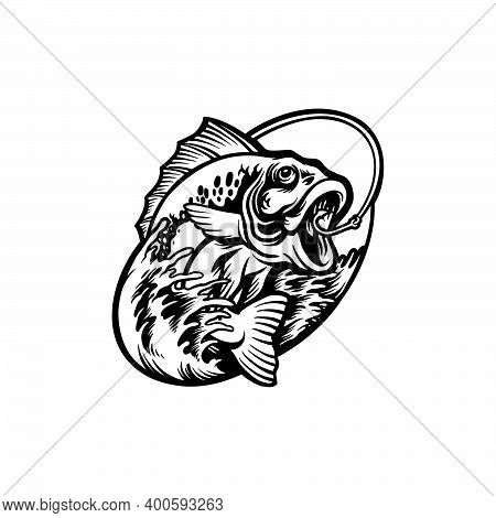 Silhouette Bass Fish  Clipart  For Your Work Logo Merchandise T-shirt, Stickers And Label, Poster, G