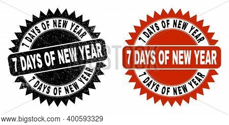 Black Rosette 7 Days Of New Year Seal Stamp. Flat Vector Grunge Seal Stamp With 7 Days Of New Year M