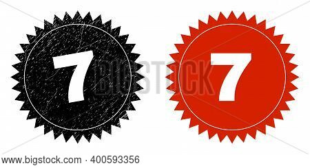 Black Rosette 7 Seal Stamp. Flat Vector Textured Seal Stamp With 7 Text Inside Sharp Rosette, And Or