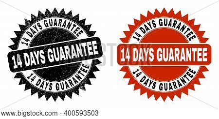 Black Rosette 14 Days Guarantee Stamp. Flat Vector Distress Stamp With 14 Days Guarantee Caption Ins