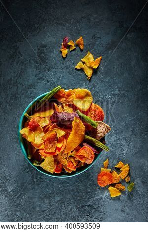 Dry Fruit And Healthy Vegetable Chips, Healthy Vegan Snack, A Mixed Heap: Yellow Sweet Potato Purple