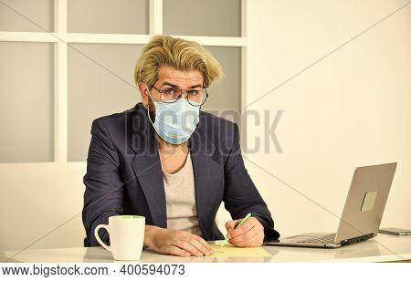 Social Distancing. Remote Work. Online Community. Coronavirus Quarantine. Remote Job. Man Freelancer