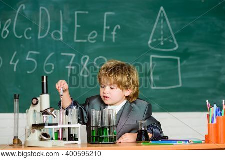 Knowledge Concept. Kid Study Biology Chemistry. Knowledge Day. Basic Knowledge Primary School Educat