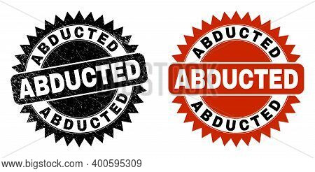Black Rosette Abducted Seal Stamp. Flat Vector Grunge Seal Stamp With Abducted Title Inside Sharp St