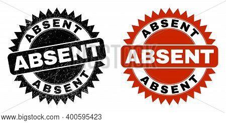 Black Rosette Absent Watermark. Flat Vector Distress Seal With Absent Title Inside Sharp Rosette, An