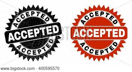 Black Rosette Accepted Watermark. Flat Vector Scratched Watermark With Accepted Title Inside Sharp R