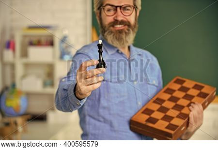 Checkmate. Chess In Classroom. Game Strategy Analysis. Checkmate. Intelligent Hobby. Selective Focus