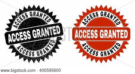 Black Rosette Access Granted Watermark. Flat Vector Distress Seal With Access Granted Phrase Inside