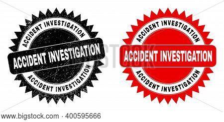 Black Rosette Accident Investigation Stamp. Flat Vector Grunge Seal Stamp With Accident Investigatio