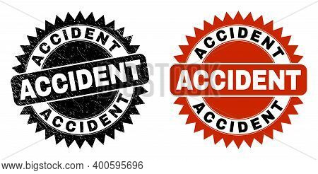 Black Rosette Accident Seal. Flat Vector Textured Seal Stamp With Accident Text Inside Sharp Rosette