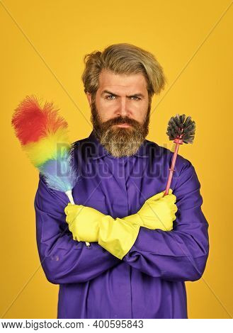 Tired Man. Housekeeping Business. Cleaning The Apartment. Man Use Pp Duster. Hipster Holding The Cle