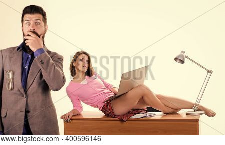 Office Manager Or Secretary. Sexy Personal Secretary. Full Of Desire. Sexy Lady Worker Attractive Le