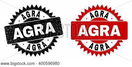 Black Rosette Agra Seal Stamp. Flat Vector Scratched Seal With Agra Message Inside Sharp Rosette, An