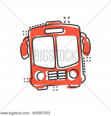 Bus Icon In Comic Style. Coach Car Cartoon Vector Illustration On White Isolated Background. Autobus