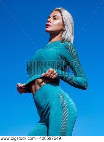 Challenging Herself. Fitness Sport Fashion. Healthy Dieting. Lady Has Tight Ass. Woman In Sportswear