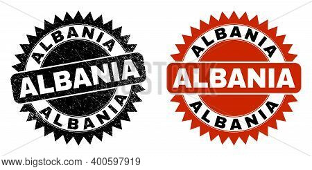 Black Rosette Albania Seal Stamp. Flat Vector Grunge Seal Stamp With Albania Message Inside Sharp Ro