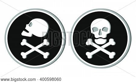 Human Skull In Side And Full Face View And Crossbones. Isolated Illustration In Flat Style On The Bl