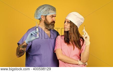 Teamwork. Nurse And Doctor. Woman And Man Work At Hospital. Private Clinic. Medical Services. Medica