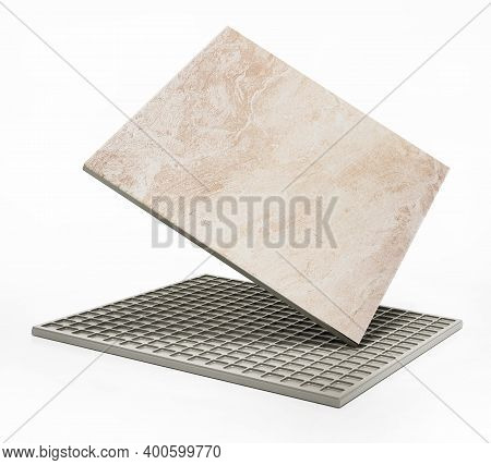 Bathroom Tile Isolated On White Background. 3d Illustration.