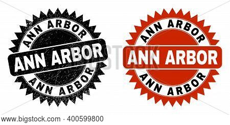 Black Rosette Ann Arbor Seal. Flat Vector Grunge Seal With Ann Arbor Phrase Inside Sharp Rosette, An