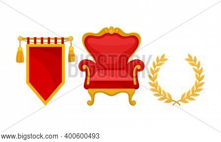 Monarchy Attributes With Golden Laurel Wreath And Throne Chair Vector Set