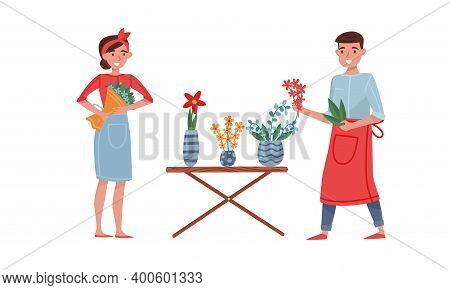 Young Male And Female Florist Arranging Bunch Of Flowers For Sale Vector Illustration Set
