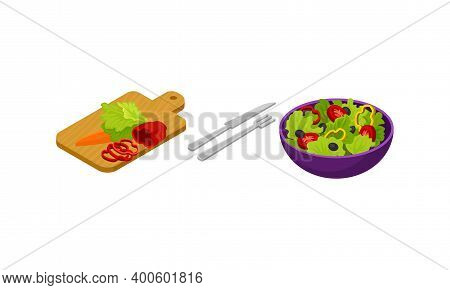 Isometric Foodstuff With Salad Bowl And Cutting Board With Vegetables Vector Set