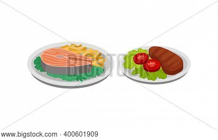 Isometric Foodstuff With Salmon Steak And Roasted Meat Slab On Plate Vector Set