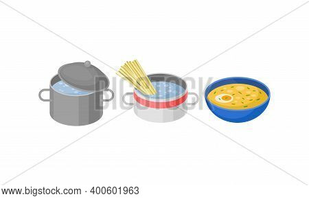 Isometric Foodstuff With Boiling Water In Saucepan And Soup Bowl Vector Set