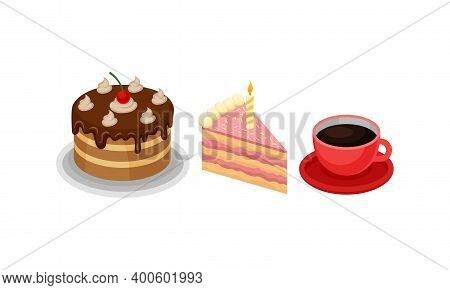 Isometric Foodstuff With Layered Chocolate Cake And Cup Of Coffee Vector Set