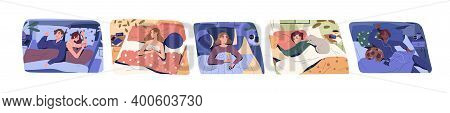 Set Of Different People Sleeping On Comfortable Bed Vector Flat Illustration. Collection Of Man, Wom